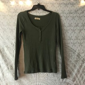 Hollister Green Ribbed Long Sleeve